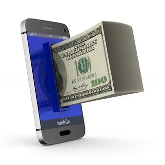 Telefon i pieniądze na białej powierzchni. ilustracja na białym tle 3d.