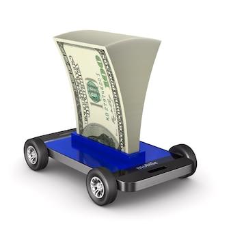 Telefon i pieniądze na białej przestrzeni