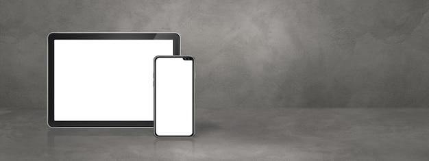 Telefon komórkowy i cyfrowy komputer typu tablet na konkretnej scenie biurowej. poziomy baner tła. ilustracja 3d