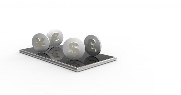 Telefon komórkowy i monety odizolowywający. renderowanie 3d.