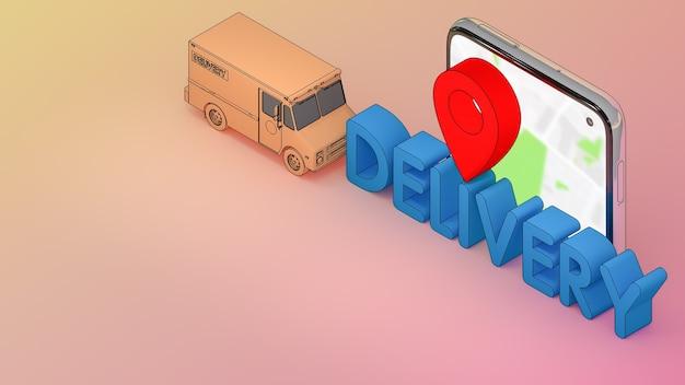 Telefon komórkowy i samochód dostawczy z czcionką dostawy i czerwonymi wskaźnikami pinezki., usługa transportu zamówienia aplikacji mobilnej online
