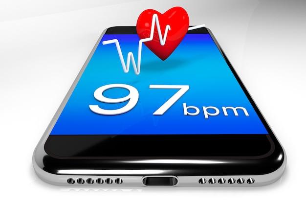 Telefon komórkowy i serce koncepcja medycznych technologii online