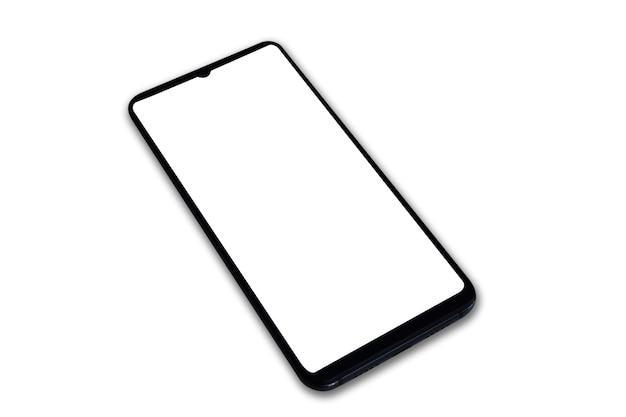 Telefon komórkowy na białym tle z zieloną bielą