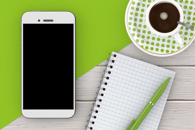 Telefon komórkowy, pusty notatnik z piórem i filiżanką kawy na drewnianym stole. renderowanie 3d