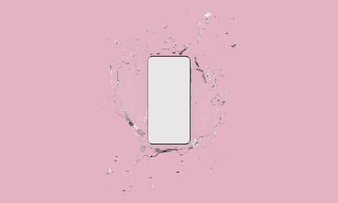 telefon komórkowy z ekranem dotykowym z plusk wody na różowym tle