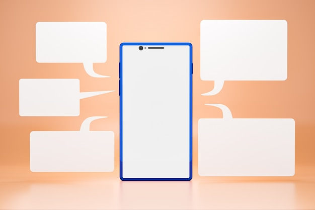 Telefon komórkowy z pustym ekranem lcd i chatboxem wokół smartfona na pomarańczowym tle. realistyczne renderowanie 3d.