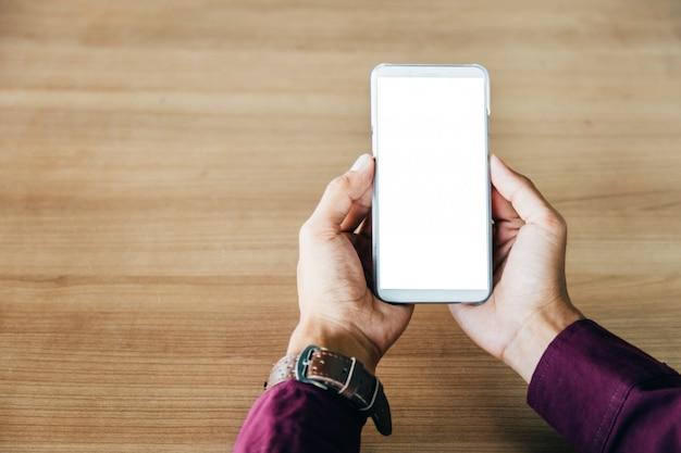 Telefon komórkowy z technologii ekranu puste i koncepcji stylu życia.