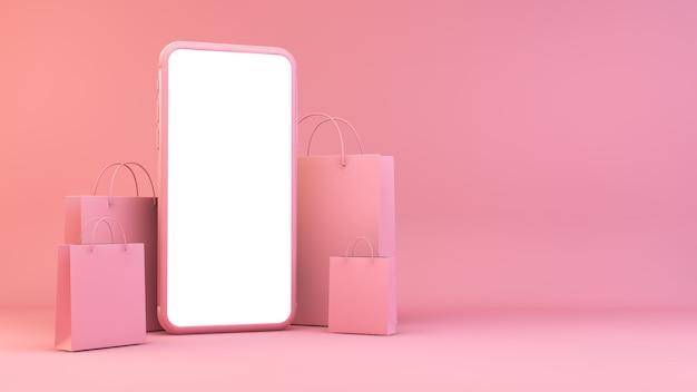 Telefon komórkowy z torbami na zakupy