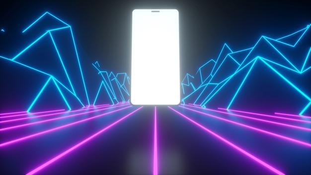 Telefon na tle neonowych gór i dróg neon świecące tło renderowania 3d