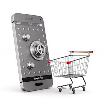 Telefon ochronny na białej przestrzeni. ilustracja na białym tle 3d