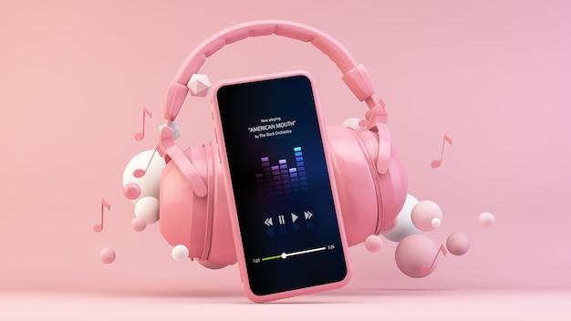Telefon pokazujący aplikację do strumieniowego przesyłania muzyki ze słuchawkami na różowej scenie renderowania 3d