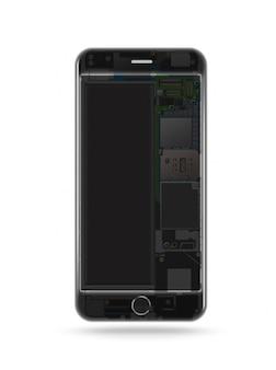 Telefon przezroczysty na białym tle, chip, płyta główna, procesor, procesor i szczegóły