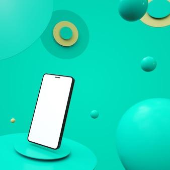 Telefon z białym ekranem na platformie z pięknym tłem z kulkami w czarnym kolorze 3d