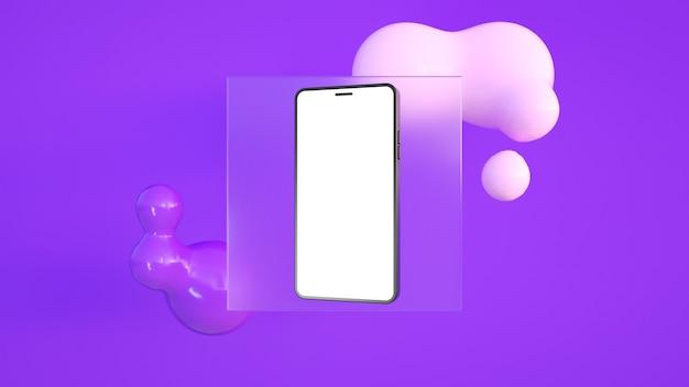 Telefon z białym ekranem, za którym znajduje się szkło i miękkie, chciwe abstrakcyjne kształty w kolorze fioletowym