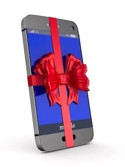 Telefon z kokardką na białym tle