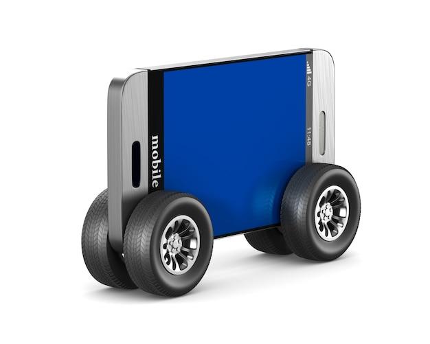 Telefon z kołami na białym tle. izolowana ilustracja 3d