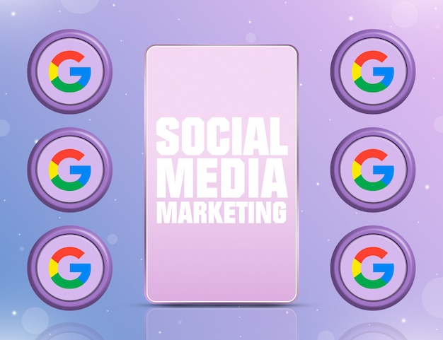 Telefon z smm na ekranie i ikonami sieci społecznościowej google wokół 3d