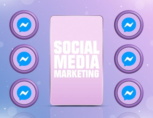 Telefon z smm na ekranie i ikonami sieci społecznościowej messenger wokół 3d