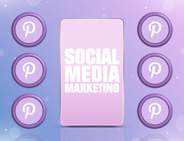 Telefon z smm na ekranie i ikonami sieci społecznościowej pinterest wokół 3d