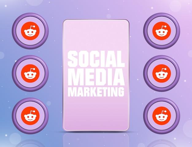 Telefon z smm na ekranie i ikonami sieci społecznościowej reddit wokół 3d