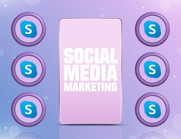 Telefon z smm na ekranie i ikonami sieci społecznościowej skype około 3d