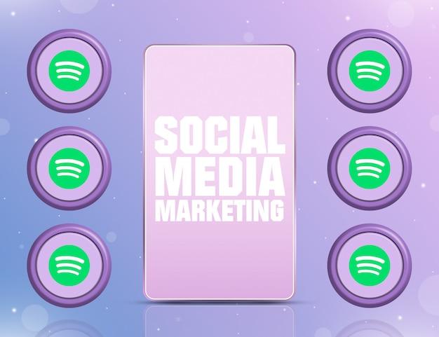 Telefon z smm na ekranie i ikonami sieci społecznościowej spotify około 3d