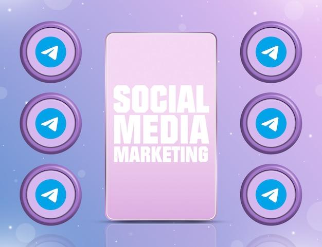 Telefon z smm na ekranie i ikonami sieci społecznościowej telegram wokół 3d