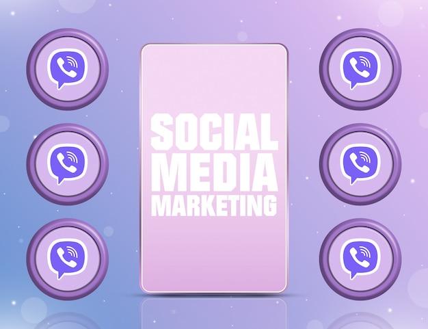 Telefon z smm na ekranie i ikonami sieci społecznościowej viber wokół 3d