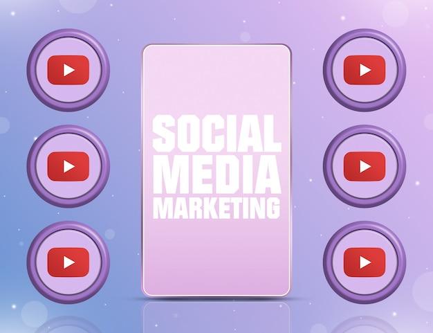 Telefon z smm na ekranie i ikonami sieci społecznościowej youtube wokół 3d