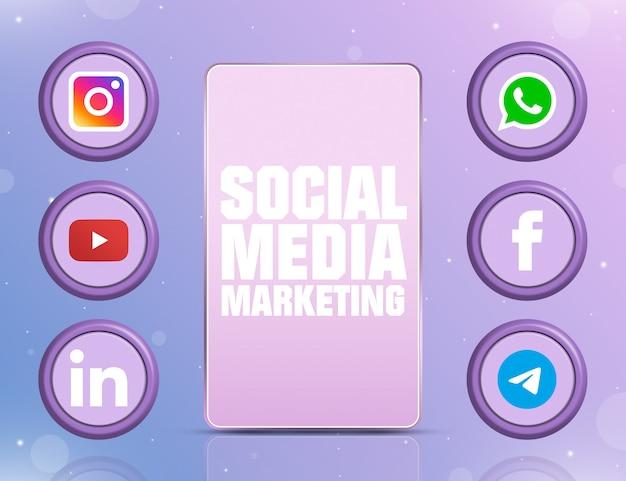 Telefon z smm na ekranie i sześcioma logo mediów społecznościowych na okrągłych ikonach wokół 3d