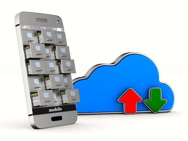 Telefon z szafką na dokumenty i chmurą na białym tle. izolowana ilustracja 3d
