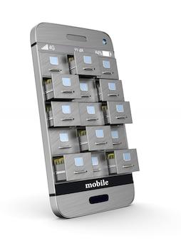 Telefon z szafką na dokumenty na białym tle. izolowana ilustracja 3d