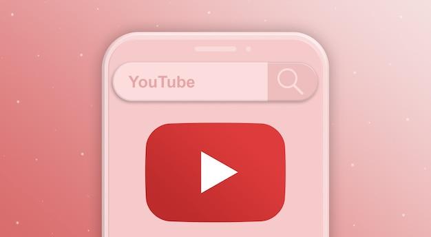 Telefon z żądaniem paska wyszukiwania i logo sieci społecznościowej youtube 3d