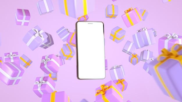 Telefon, za pomocą którego kupisz rzeczy prezenty online zdalnie kupuje prezenty na święta