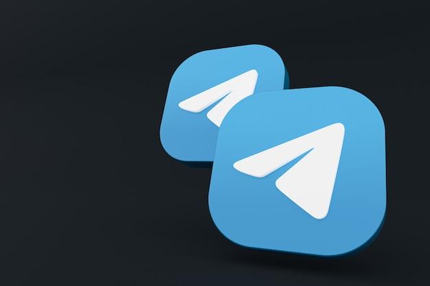 Telegram aplikacji logo renderowania 3d na czarnym tle