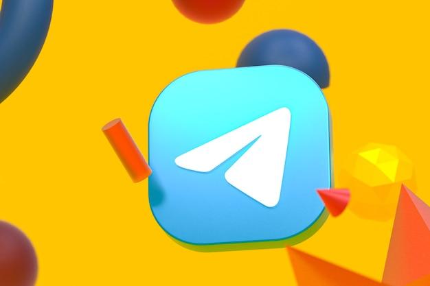 Telegram logo na tle abstrakcyjnej geometrii