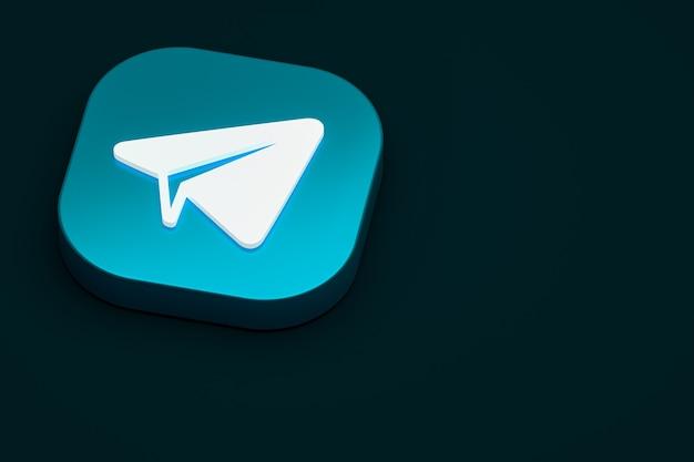 Telegram minimalne renderowanie 3d logo