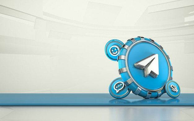 Telegram renderowania 3d ikona mediów społecznościowych izolowane tło