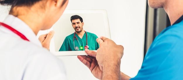 Telemedyczna usługa wideo online dla lekarzy do wirtualnego czatu medycznego na temat zdrowia pacjenta