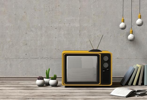 Telewizja makiety z roślin i książek na tle ścian betonowych