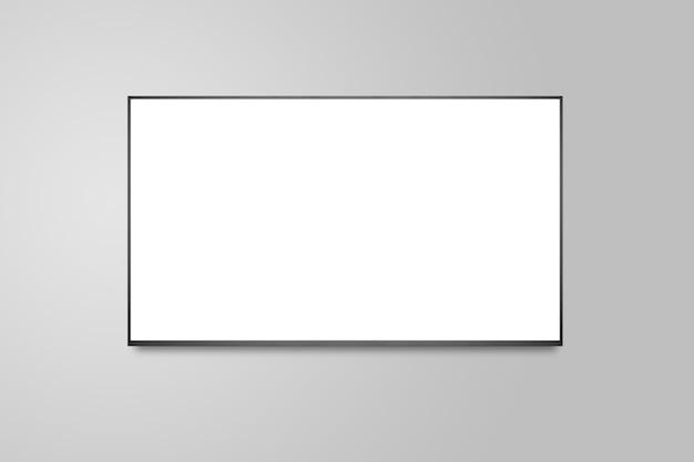 Telewizja na białej ścianie, telewizor 4k z płaskim ekranem lcd lub oled, realistyczna ilustracja plazmy, makieta białego pustego monitora hd.