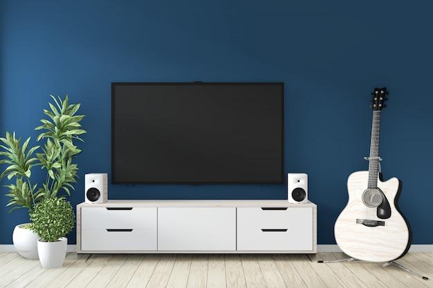 Telewizor gabinetowy w zen nowożytnego pustego pokoju janapese minimalnych projektach, 3d rendering