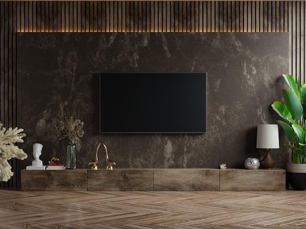 Telewizor i szafka w ciemnym pokoju z rośliną na ścianie z ciemnego marmuru, renderowanie 3d