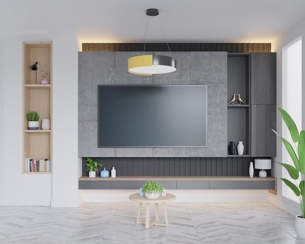 Telewizor led na betonowej ścianie w salonie, minimalistyczny design.
