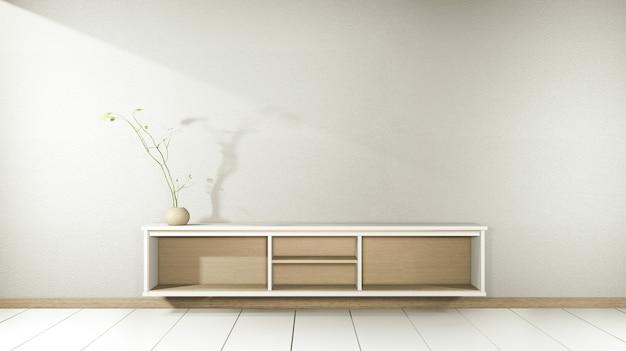 Telewizor na drewnianej szafce w nowoczesnym pustym pokoju i białej ścianie w japońskim stylu białej podłogi. renderowania 3d