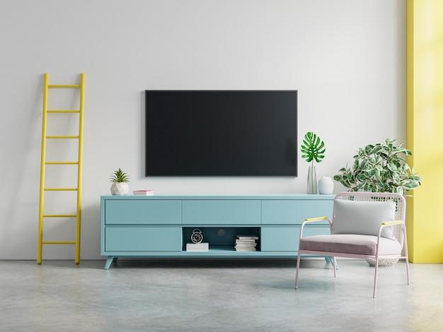 Telewizor na makiecie ściany wewnętrznej szafki w nowoczesnym pustym pokoju, minimalistyczny design, renderowanie 3d