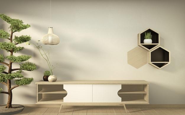 Telewizor na ścianie i drewniana szafka w nowoczesnym pustym pokoju japońskie minimalne wzory. renderowanie 3d