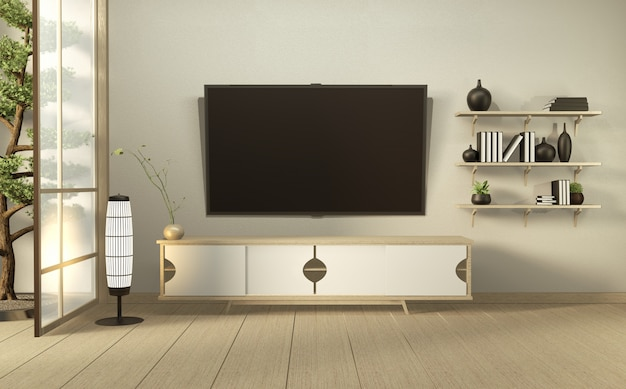 Telewizor na ścianie i drewniana szafka w nowoczesnym pustym pokoju