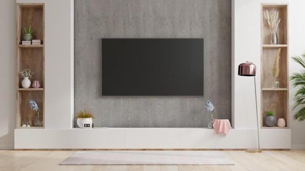 Telewizor na stojaku w nowoczesnym salonie na betonowej ścianie, renderowanie 3d