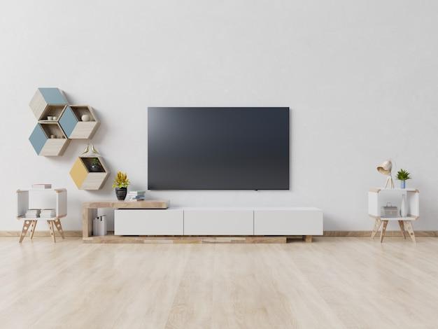 Telewizor na szafce w nowoczesnym pustym pokoju, minimalistyczny design.